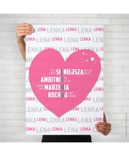 Lena - serce różowe ciemne...