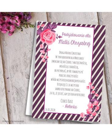 Podziękowanie Dla Rodziców Chrzestnych Kwiaty Różowe Komplet 2szt