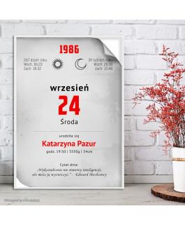 Kartka z kalendarza szara -...