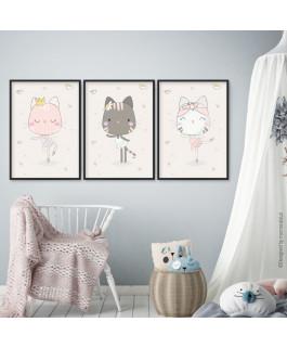 Tańczące kotki - 3 obrazki