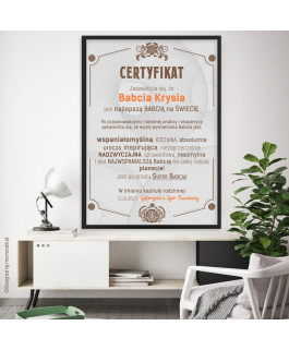 Certyfikat najlepsza babcia...