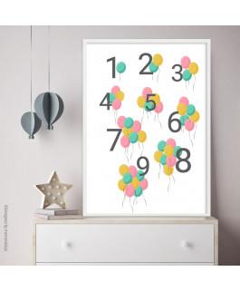 Cyferki z balonami różowo -...