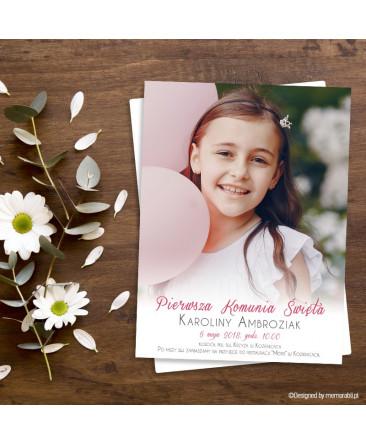 Portret Z Różem Zaproszenie Na Komunię