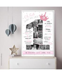 """Plakat """"1"""" z koroną różową..."""
