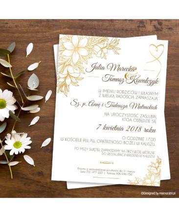 Kwiaty Złote Zaproszenie ślubne