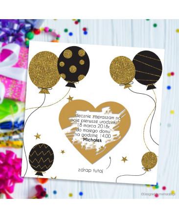 Zaproszenie Na Urodziny Z Balonami Kartka Zdrapka