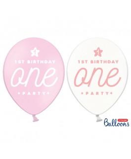Balony One różowe na roczek...