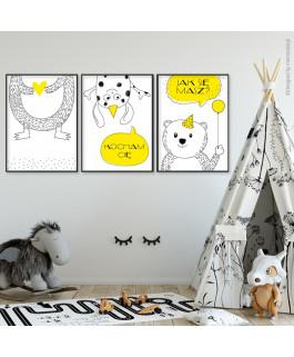 Misiaki żółte - 3 obrazki