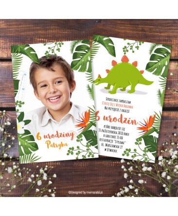 Dinozaur Zielony Ze Zdjęciem Zaproszenie Na Urodziny