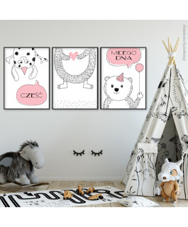 Misiaki różowe - 3 obrazki