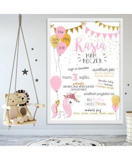 Unicorn z balonami różowo -...